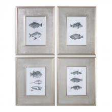 Uttermost 33644 - Uttermost Blue Fish Framed Prints Set/4