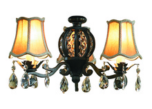 Craftmade ECK898AV - Antoinette 3 Light Kit with Silk Shades and Crystals in Antique Verde