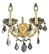Elegant 2800W2G/SA - 2800 Maria Theresa Collection Wall Sconce D:12in H:16in E:8.5in Lt:2 Gold Finish (Spectra® Swarovski