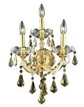 Elegant 2801W3G-GT/RC - 2801 Maria Theresa Collection Wall Sconce D:12in H:22in E:8.5in Lt:3 Gold Finish (Royal Cut Crystals