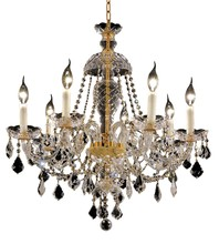 Elegant 7831D26G/RC - 7831 Alexandria Collection Chandelier D:26in H:28in Lt:7 Gold Finish (Royal Cut Crystals)