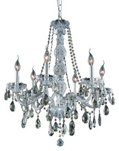 Elegant 7956D24C-GT/RC - 7956 Verona Collection Chandelier D:24in H:28in Lt:6 Chrome Finish (Royal Cut Crystals)