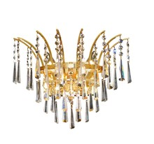 Elegant 8032W16G/EC - 8032 Victoria Collection Wall Sconce D:16in H:13in E:8in Lt:3 Gold Finish (Elegant Cut Crystals)