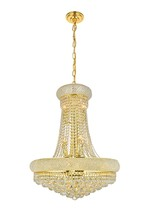 Elegant V1800D24G/SS - 1800 Primo Collection Chandelier D:24in H:32in Lt:14 Gold Finish (Swarovski� Elements Crystals)