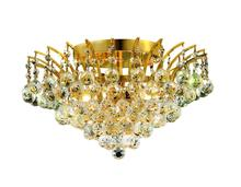 Elegant V8031F16G/RC - 8031 Victoria Collection Flush Mount D:16in H:10in Lt:6 Gold Finish (Royal Cut Crystals)