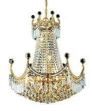 Elegant V8949D20G/SS - 8949 Corona Collection Chandelier D:20in H:28in Lt:9 Gold Finish (Swarovski� Elements Crystals)