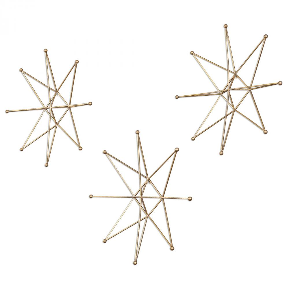 Uttermost Gold Stars Wall Art, S/3