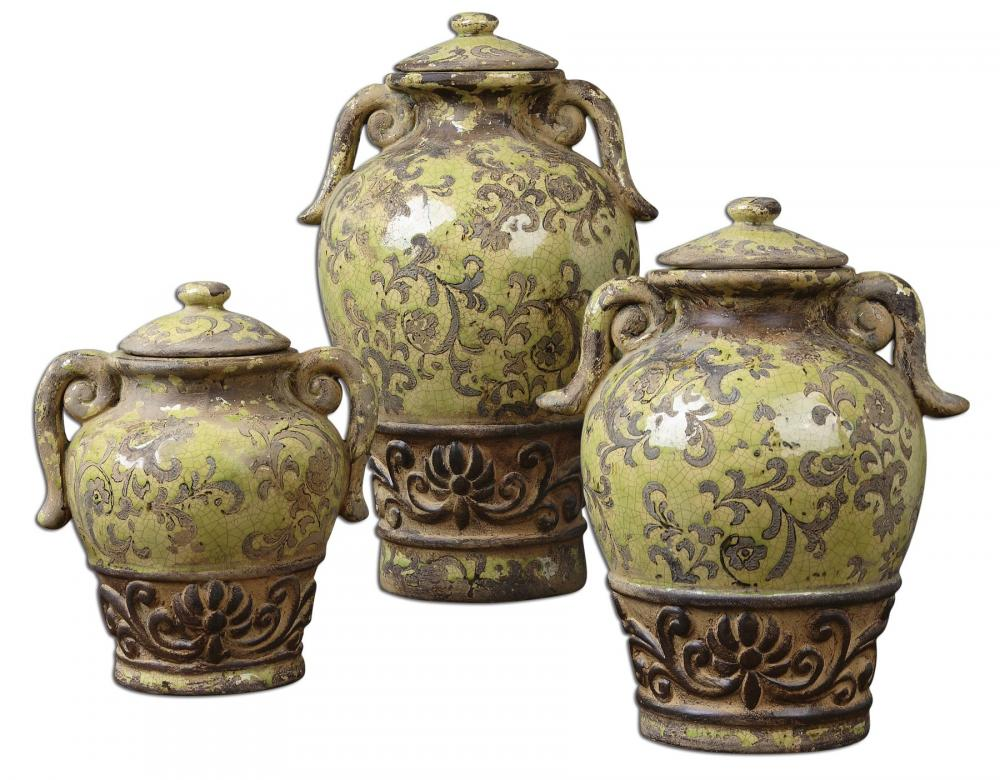 Uttermost Gian Crackled Green Containers, Set/3