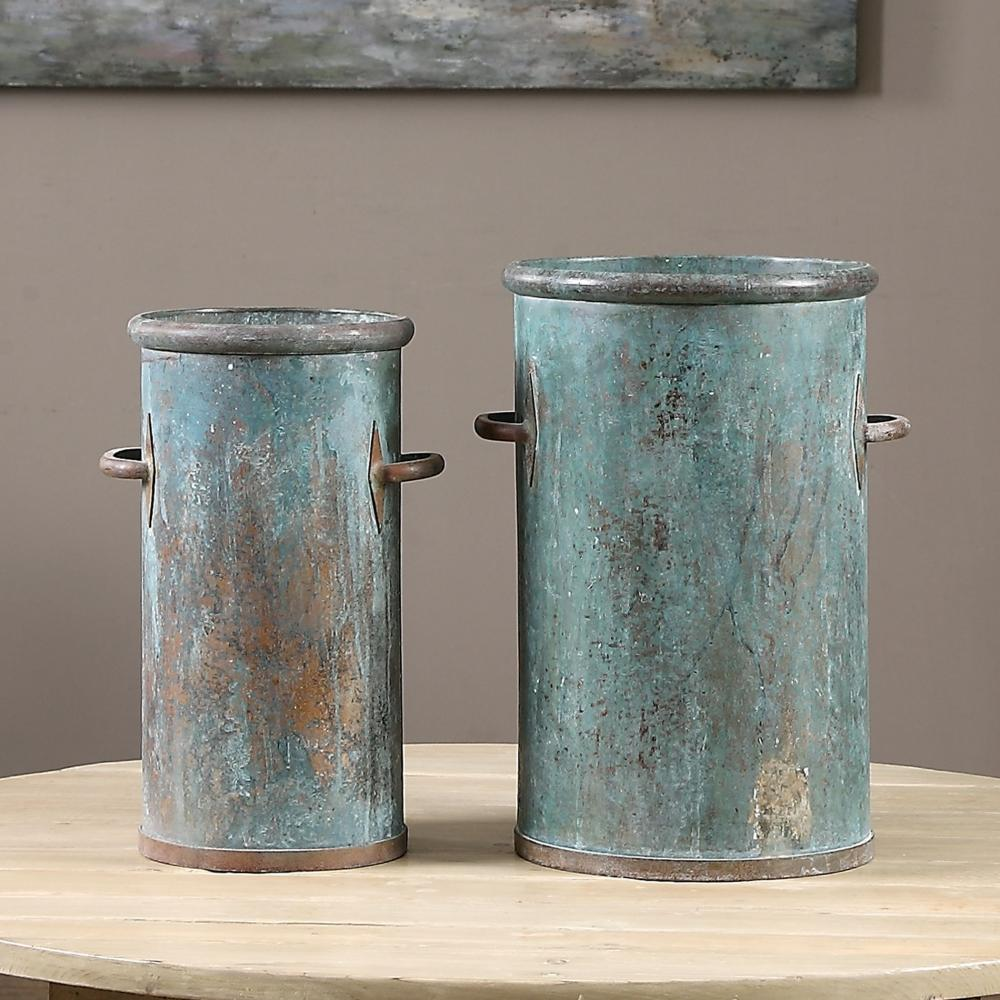 Uttermost Barnum Tarnished Copper Cans, S/2
