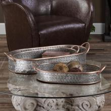 Uttermost 20180 - Uttermost Fabiana Antiqued Silver Trays Set/3